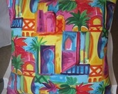 Tropical Handmade Decorative Pillow Caribbean Colors Throw