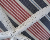 Nautical R. Lauren Decorator Fabric Stripes Handmade Pillow Faux Down