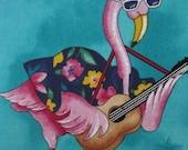 Chillin Flamingos Relax at the Beach, Handmade Decorative Tropical Pillow