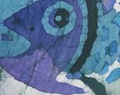 Beachy Batik Seaside Decor Sea Blue Fish Handmade Pillow