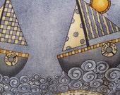 Six Sailboats Sail Away Handmade Coastal Nautical Pillow Decor