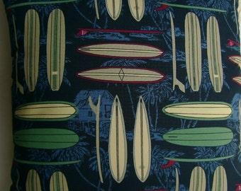 Surfs Up -  Surfboards, Palms, Huts,  Nautical Coastal Decor Handmade Pillow