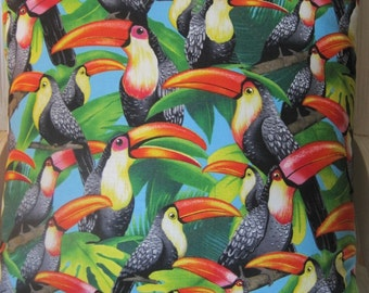Tropical Toucan Print Handmade Pillow Vivid Jungle Birds