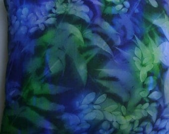 Sunprint Batik Decorative Pillow Blue Green Leaves Lush Tropical Handmade