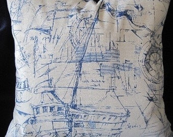 Nautical Sketches Decorative Pillow Yachts, Boats, Handmade