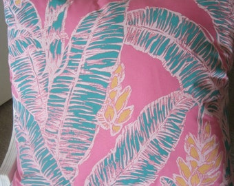 Bold Banana Palms Tropical Pink Decorative Pillow Handmade Throw