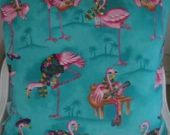 Chillin Flamingos Relax at the Beach, Handmade Decorative Tropical Pillow