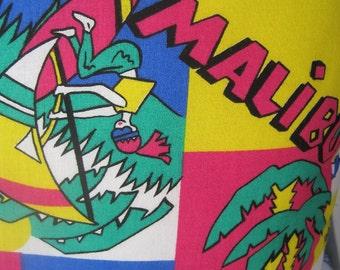Surfside Malibu Handmade Decorative Retro Pillow Windsurfing, Beach, Palms