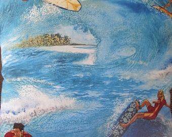 Ride the Waves, Hang Ten,  Crankers Roll,  Handmade Coastal Decor Decorative Pillow