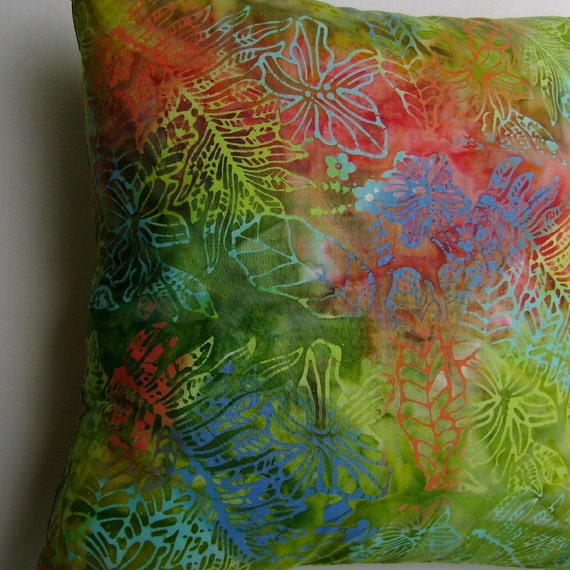 Tropical Leaves, Flowers Batik Handprint Coastal Decor Handmade Pillow