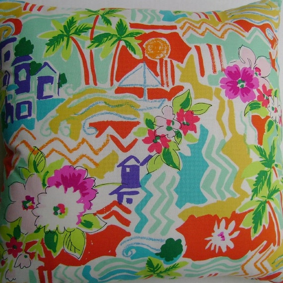 RESERVED LISTING, FRANCES f only. Tropical Handmade Pillow Alexander Henry Vacation Village Scene