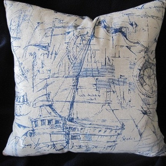 Nautical Sketches Decorative Pillow Yachts Boats by beachsidestyle