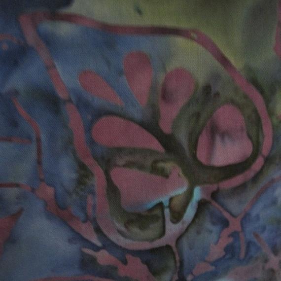 Batik Beauty Tropical Flowers Leaves Handmade Pillow Island Colors