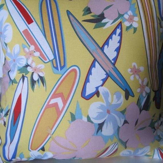 Hang Ten, Surfboards and Tropical Flowers,  Handmade Decorative Pillow