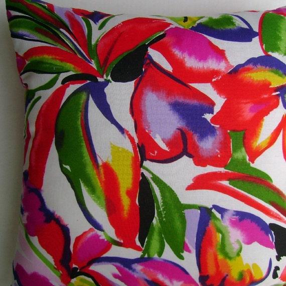 Island Flowers Handmade Pillow Tropical John Kaldor Vintage Print