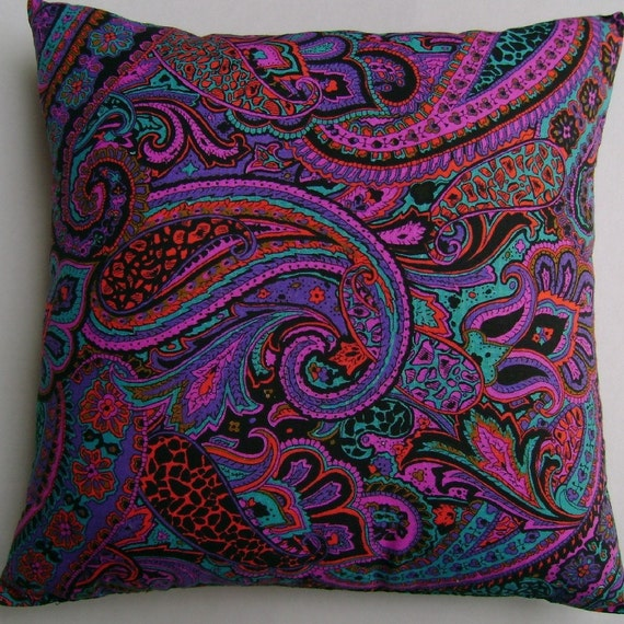 Paisley, Pink, Purple With Turquoise, Stunning Handmade Pillow