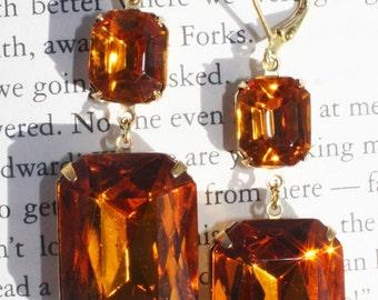 Bridesmaid Earrings, Bridal Earrings, Topaz, Burnt Orange, Dangle, Teardrop Amber, Pear Shaped, Leverback, Rhinestone Earrings, Earings