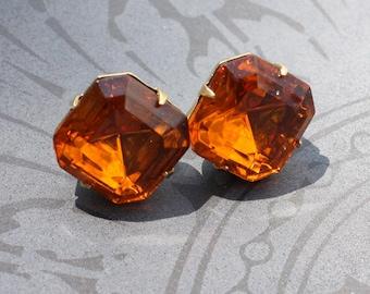 Bridesmaids Earrings, Bridal Earrings, Earings, Stud Earrings, Post Earrings, Topaz, Burnt Orange, Amber, Post, Rhinestone, Faceted