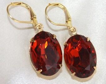 Bridal Earrings, Dark Orange Red, Bridesmaid Earrings, Burnt, Dangle, Madeira Topaz, Oval Amber, Pear Shaped, Leverback, Rhinestone, Earings