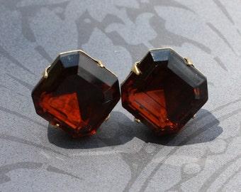 Smokey Topaz, Dark Brown, Rhinestone, Post, Stud Earrings - Only 2 pairs left
