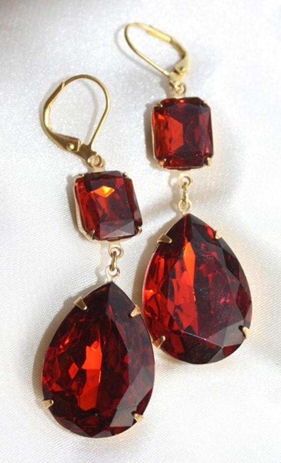 Bridal Earrings, Dark Orange Red, Bridesmaid Earrings, Burnt, Dangle, Madeira Topaz, Teardrop, Pear Shaped, Leverback, Rhinestone, Earings
