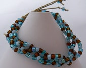 Beaded Bracelet, Shades of Blues and Browns, Metal-free