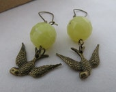 Sparrow Earrings - Lemon Jade, Antiqued brass