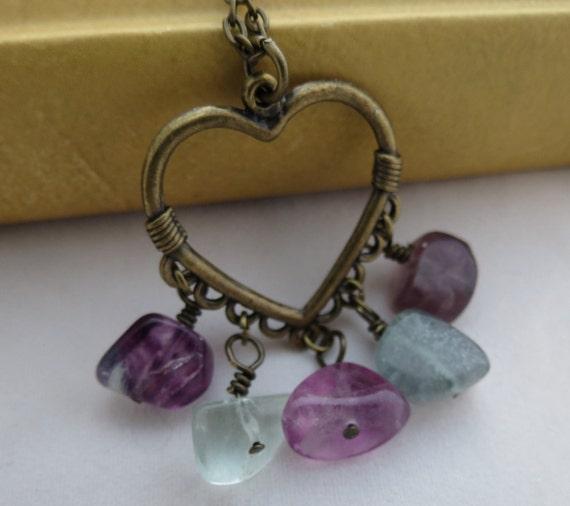 Heart Necklace - Rainbow Fluorite, Antiqued Brass