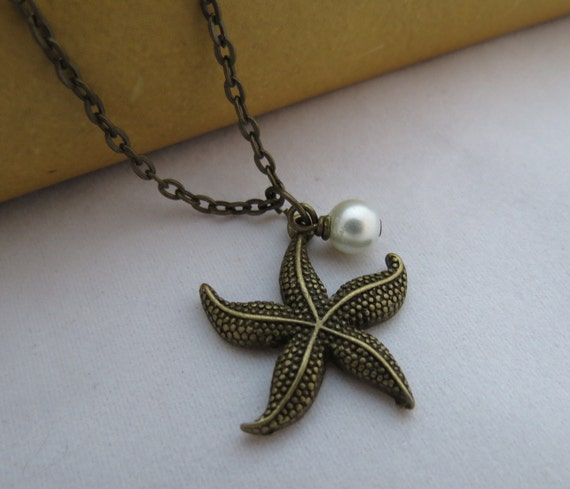 Starfish Necklace - White Pearl, Antiqued brass