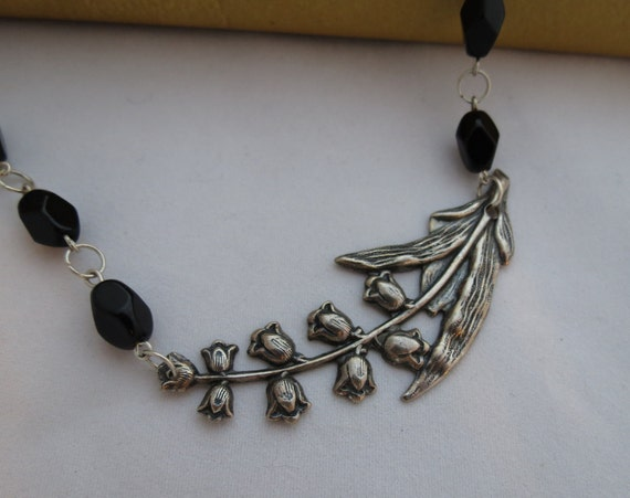 Reserved for Marci - Lily of the Valley Necklace - Black