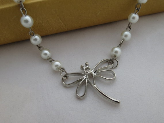 Dragonfly Necklace - White Pearl, Antiqued Silver, Handmade