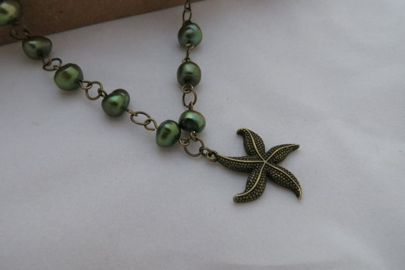 Starfish Necklace - Moss Green Freshwater Pearl , Antiqued Brass