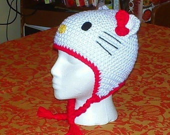 Kitty Earflap Hat PDF Instant Download