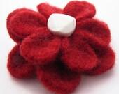 Wool Felt Flower Hair Clip, Red and White
