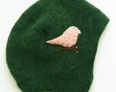 Cashmere Newborn Hat- Green with Pink Bird, size 0 to 3 months