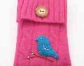 Felted Wool Pouch, smartphone case, Hot Pink Bird