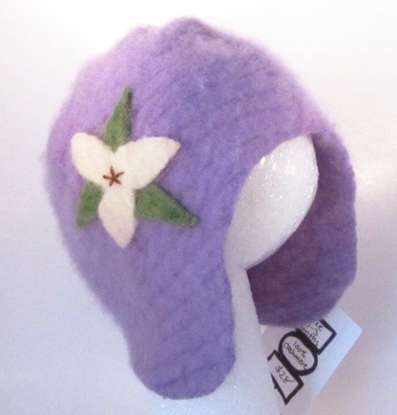 Recycled Sweater Cashmere Baby Hat- Lavender with Trillium Flower, Size 0 to 3 months