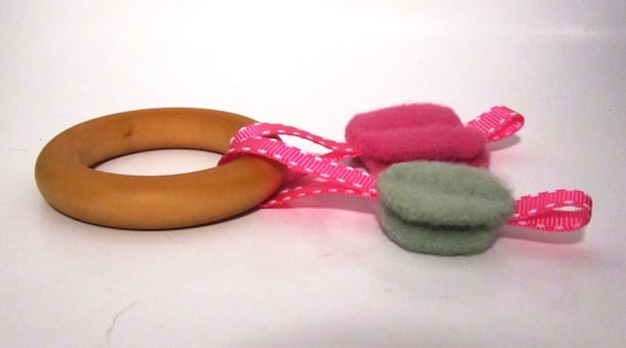 Teething Toy, Natural Wool and Wood - Hot Pink and Green