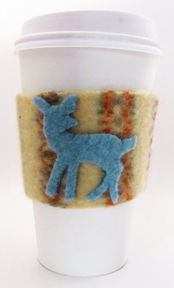Felted Wool Coffee Sleeve- Aqua Deer