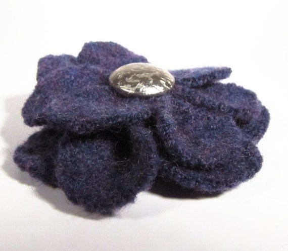 Upcycled Wool Felt Flower Hair Clip, Dark Purple