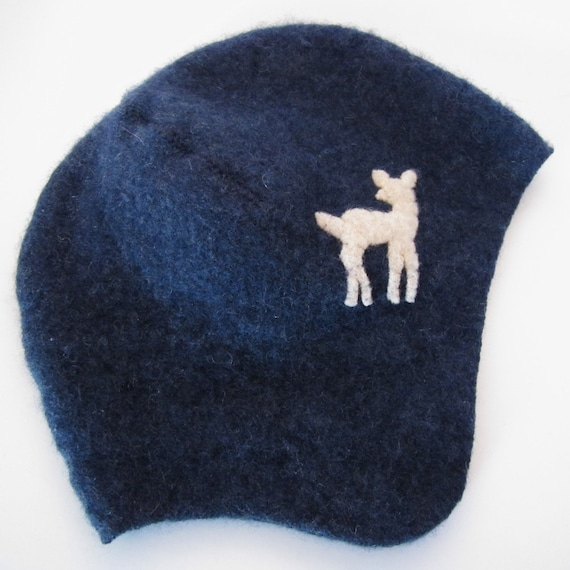 Cashmere Toddler Hat- Navy Blue Deer, size 2 to 3 years