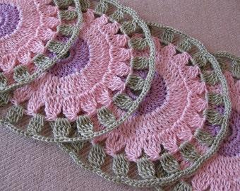 Crochet Coaster Set 'Rose'