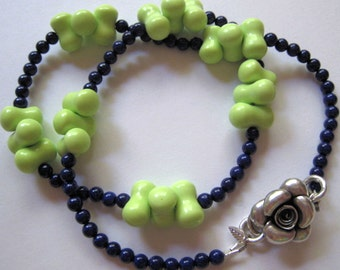 Apple Green & Navy Blue Necklace with Hill Tribe Silver  Rose Clasp - N134