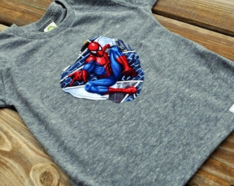 superhero shirts: spiderman eco grey t shirt