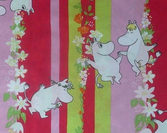 "Moomin fabric ""Summer Moomin"" pink red lime bright colours tillukka valentine"