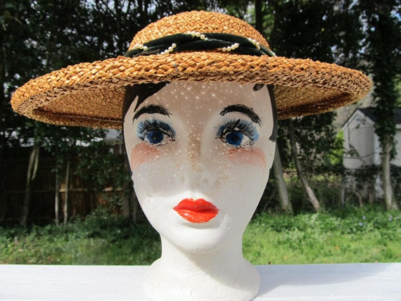 1920 Straw Hat with Velvet and Pearl trim