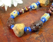 SALE - Mixed Media Necklace - Tiger Agate, Recycled Glass, Carved Wood