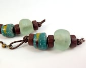 Recycled Glass Earrings - Teal, Brown