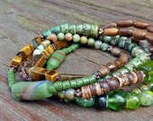 Lucky Seven Gemstone Wrap Bracelet - Green Rhyolite, Brown Tigereye, So Many More, 5x Wrap