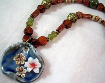 SALE Ceramic Necklace - Blue Green Ceramic Pendant, Wood
